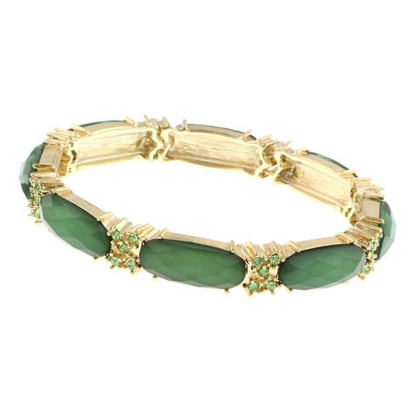 2028 Gold-Tone Green Stretch Bangle Bracelet