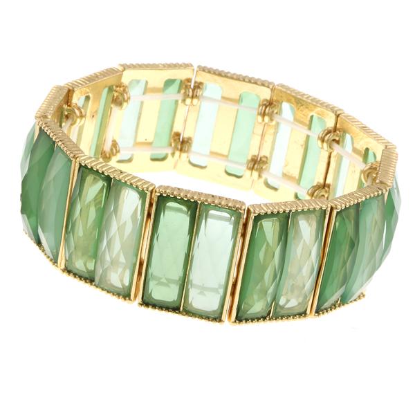 2028 Gold-Tone Green Stretch Bracelet