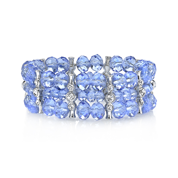 2028 Luxe Pastels Three-Row Light Blue Beaded Stretch Bracelet