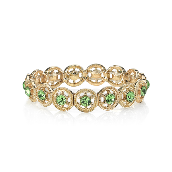 2028 Luxe Pastels Gold-Tone Green Crystal Stretch Bracelet
