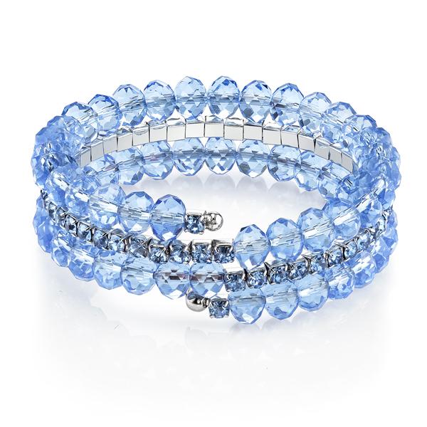 Silver-Tone Blue Beaded Coil Bracelet