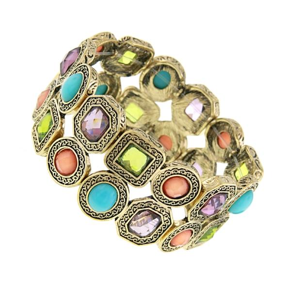 Signature Gold-Tone Multi-Color Stretch Bracelet