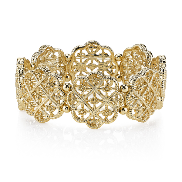 2028 Spring Tailored Gold-Tone Filigree Bracelet