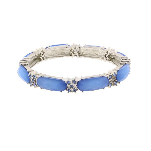 2028 Silver-Tone Blue Slim Stretch Bangle Bracelet