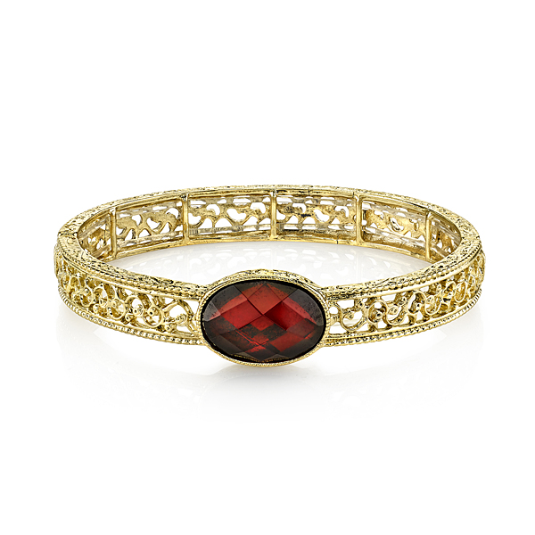 Cyprus Gold-Tone Red Filigree Stretch Bracelet
