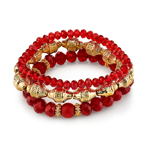 Cyprus Gold-Tone Red Beaded Stretch Bracelet Set
