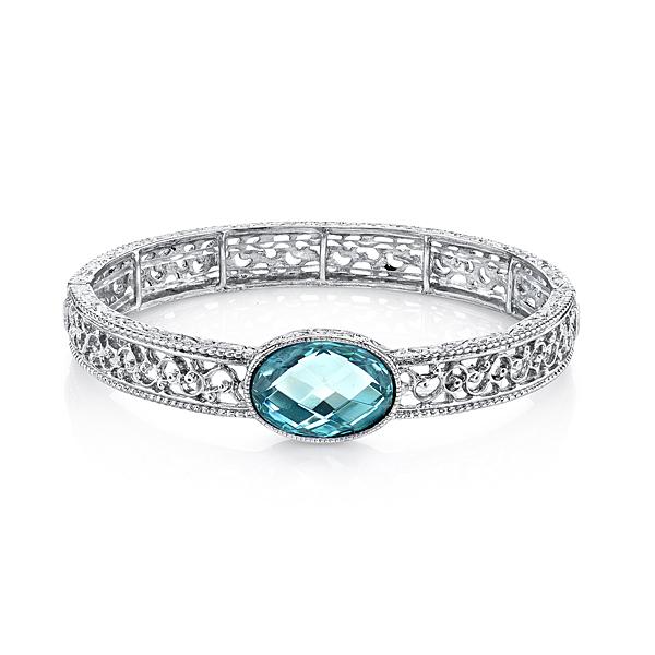 Cyprus Silver-Tone Aqua Blue Filigree Stretch Bracelet
