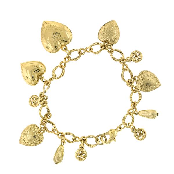 Alex Nicole® Vintage Collectible Brass Heart Charm Bracelet