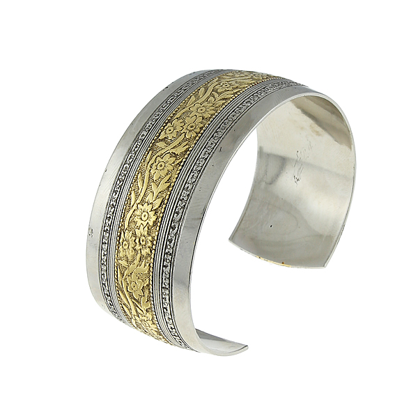 Silver-Tone and Gold-Dipped Floral Cuff Bracelet