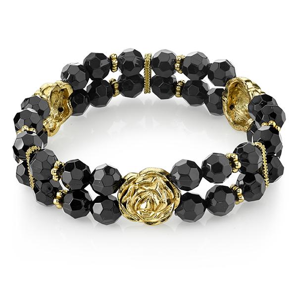 Tuileries Gold-Tone Black Beaded Stretch Bracelet