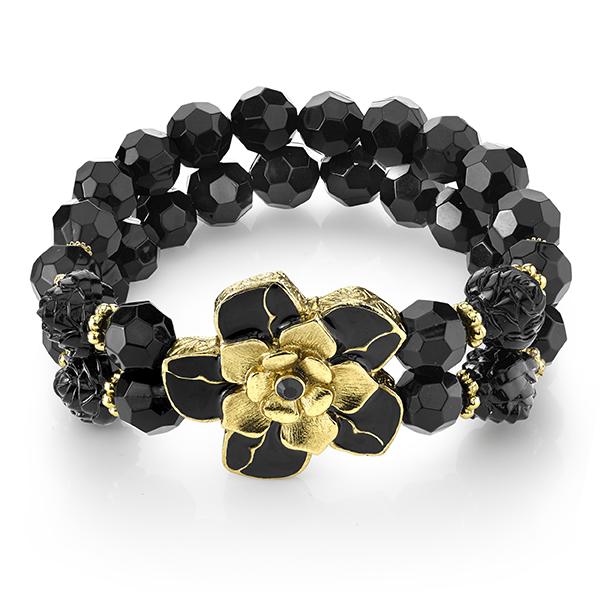 Le Marais Florals Gold-Tone Black Flower Two-Row Beaded Bracelet