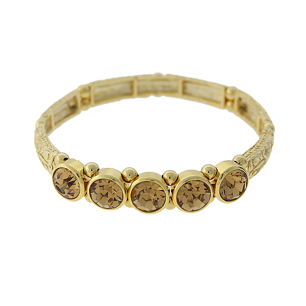 2028 Gold-Tone Light Brown Crystal Stretch Bangle Bracelet