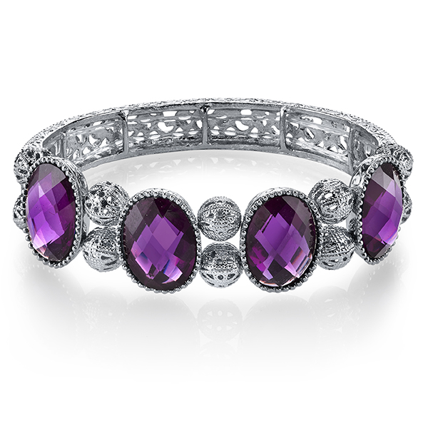 Radiant Orchid Silver-Tone Purple Stretch Bangle Bracelet