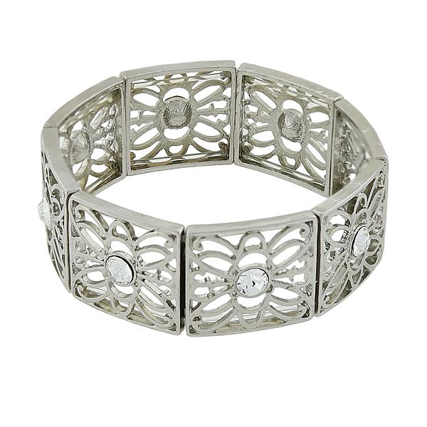2028 Filigree Sparkle Silver-Tone Crystal Filigree Stretch Bracelet
