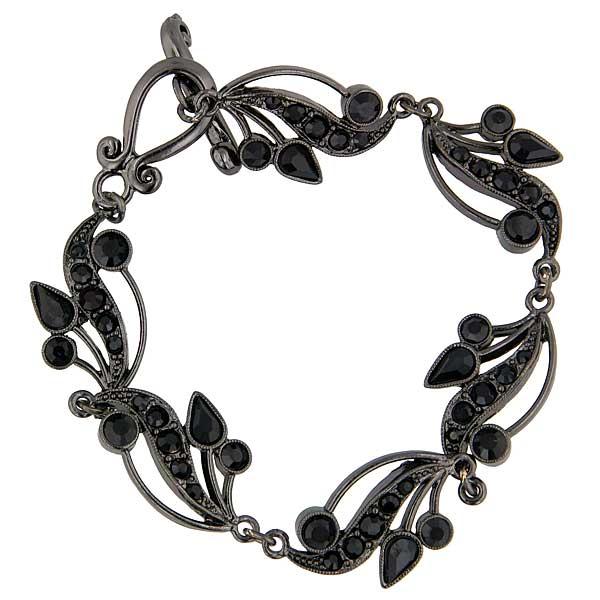 Signature Jet-Tone Black Swarovski Crystal Vine Toggle Bracelet