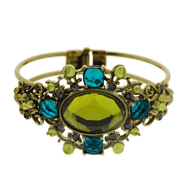 2028 Peacock Hues Jeweled Cuff Bracelet
