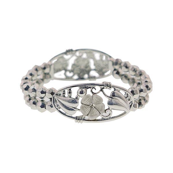 Silver-Tone Disco Beads Floral Stretch Bracelet