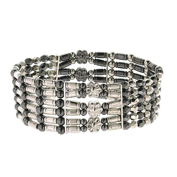 Metallic Heights Silver-Tone and Hematite Beaded Bracelet