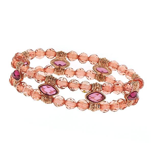 Marquise Cut Double Beaded Peach Bracelet