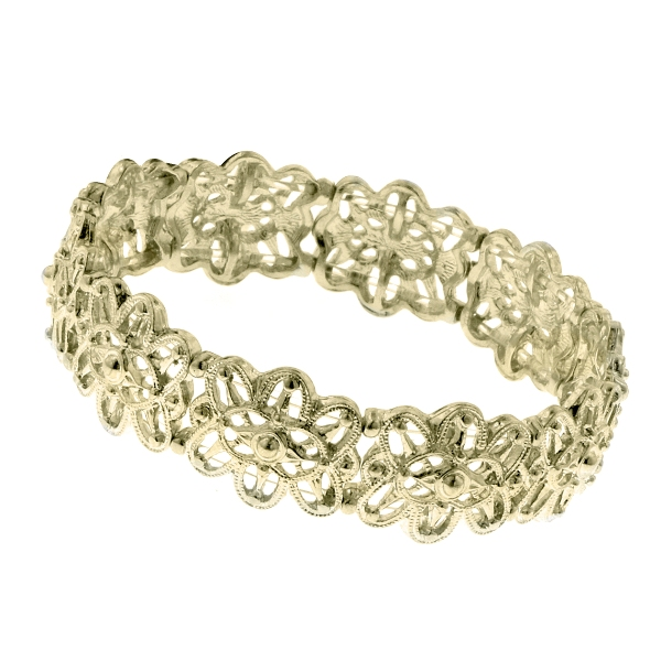 Brass Antiqued Celestial Stretch Filigree Bracelet