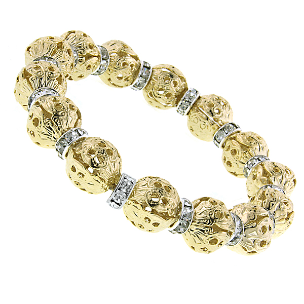 Gold-Tone Filigree Beads with Crystal Rondelle Stretch Bracelet