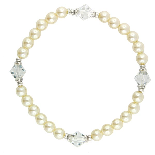 Silver-Tone Faux Pearl and Crystal Bead Stretch Bracelet
