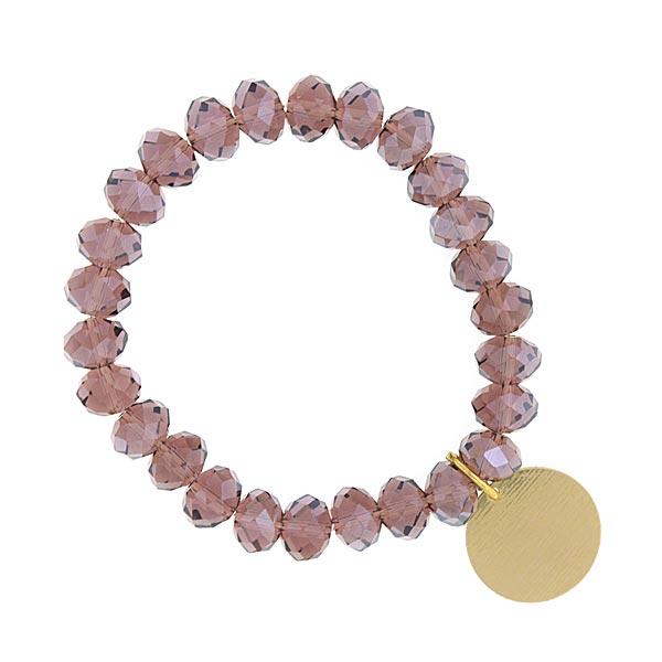 Amethyst Shimmer Beaded Engravable Charm Bracelet