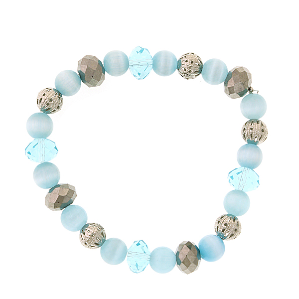 Silver-Tone Aqua Blue Cat's Eye Beaded Bracelet