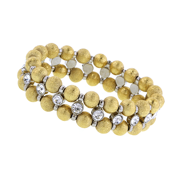 Signature Gold-Tone Bead and Crystal Bracelet