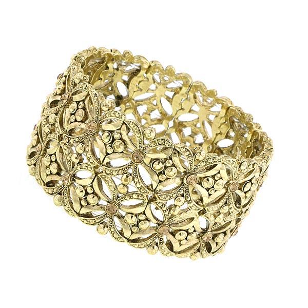 Gold-Tone Crystal Filigree Wide Stretch Bracelet