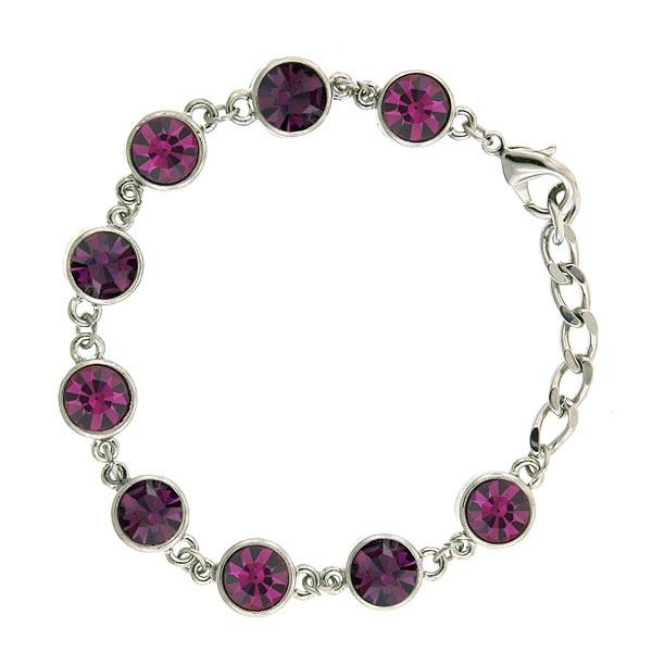 Rose and Amethyst Crystal Drops Link Bracelet