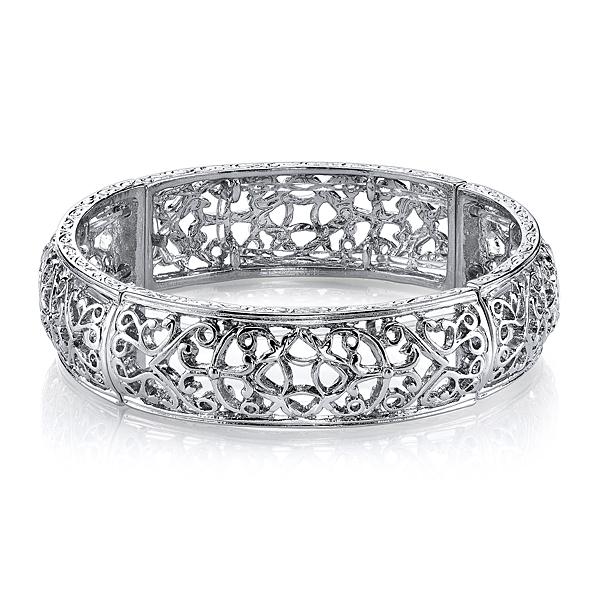 Silver-Tone Vines Stretch Bracelet