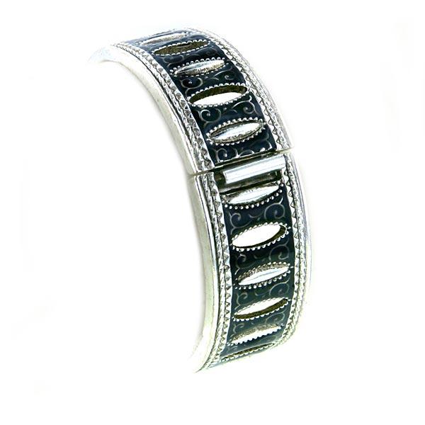 Antiquities Couture Vintage Couture Silver Tone Black Enamel Bracelet