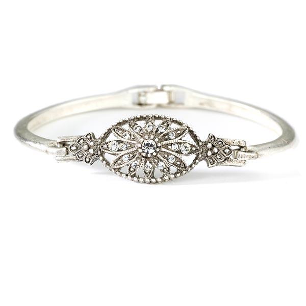 Art Deco Crystal Floral Motif Bracelet