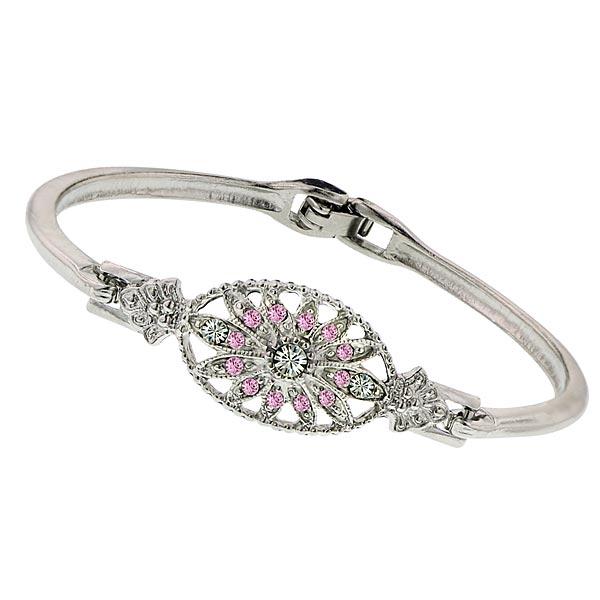 Art Deco Rose Pink Crystal Floral Motif Bracelet