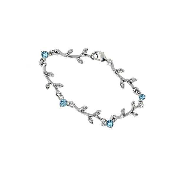 Floral Garland Silver Tone Aqua Crystal Bracelet