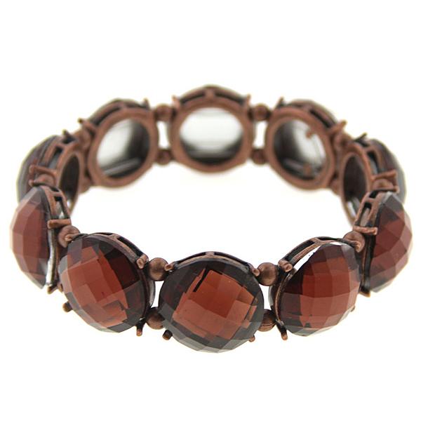 Copper-Tone Topaz Brown Stretch Bacelet