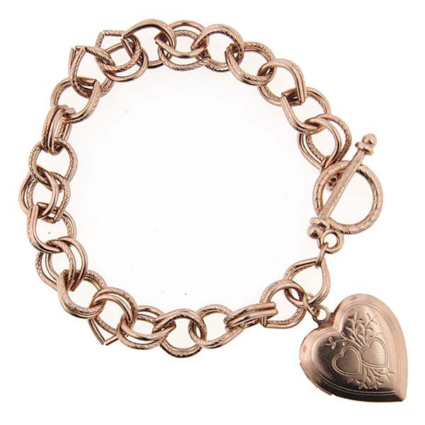 Rose Gold-Tone Heart Locket Charm Toggle Bracelet