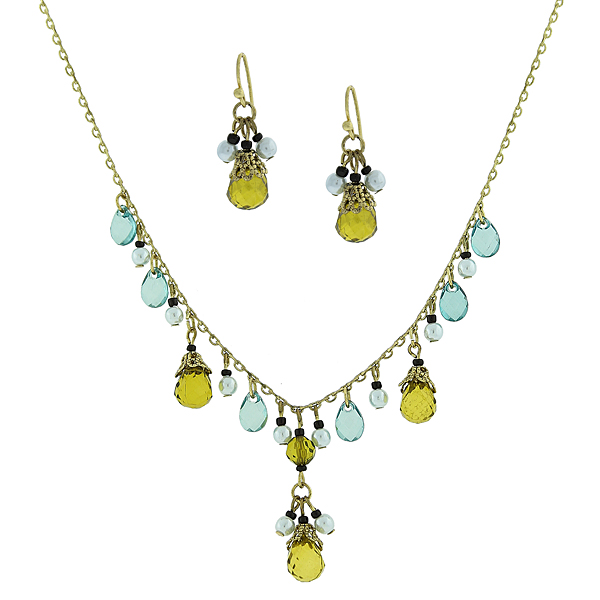 Gold-Tone Green Beaded Necklace and Earrings Set