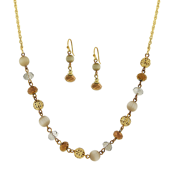 Gold-Tone Brown Beaded Necklace and Earrings Set