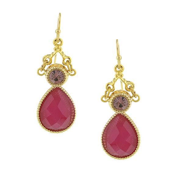 Gold-Tone Fuchsia Teardrop Earrings