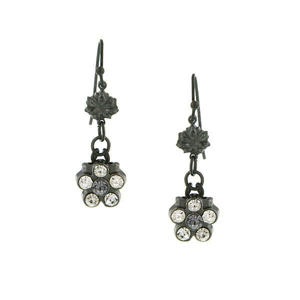 Jet Tone & Crystal Flower Earrings