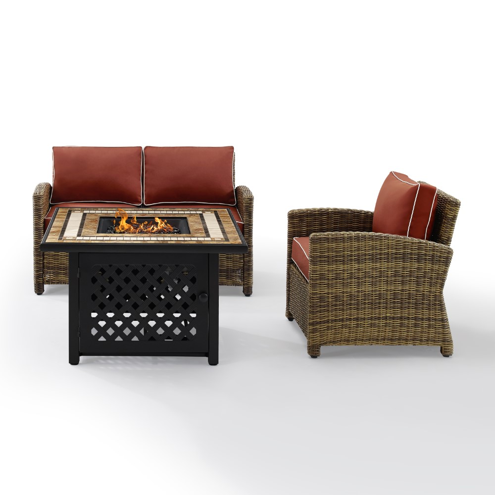 crosley furniture bradenton 3 piece outdoor wicker conversation set with fire table weathered brown sangria loveseat arm chair fire table