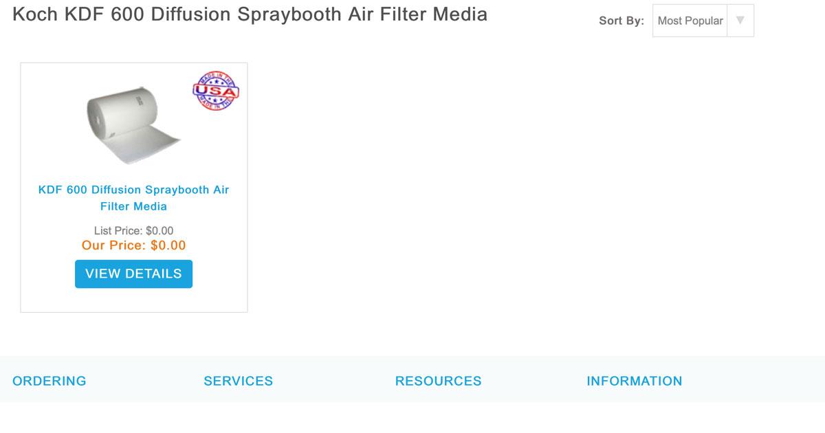 Koch KDF 600 Diffusion Spraybooth Air Filter Media