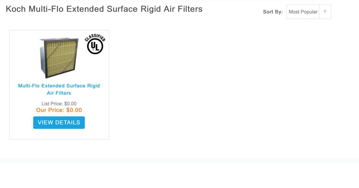 Koch Multi-Flo Extended Surface Rigid Air Filters