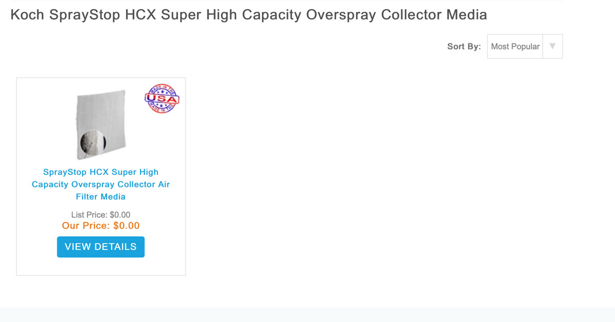 SprayStop HCX Super Capacity Overspray Collectors
