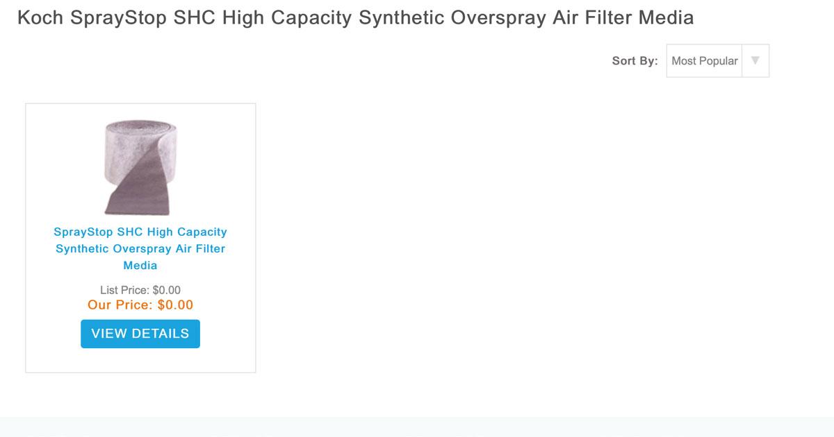 SprayStopSHC Synthetic Overspray Air Filter Media