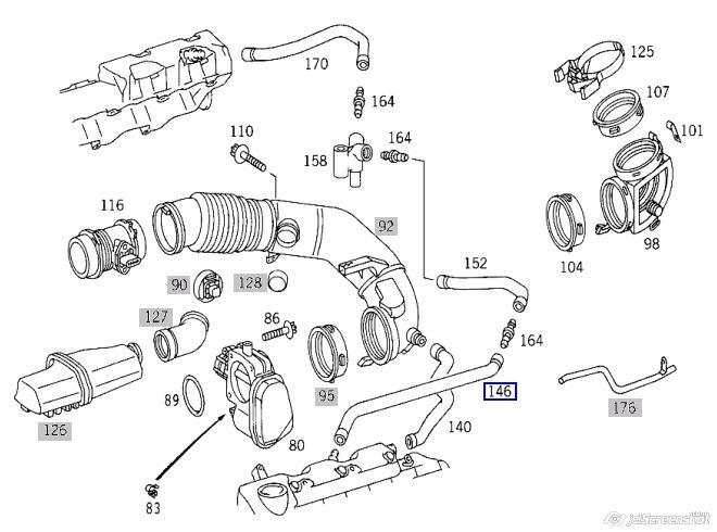 Патрубок вентиляции картера, маслоотделителя на Mercedes S