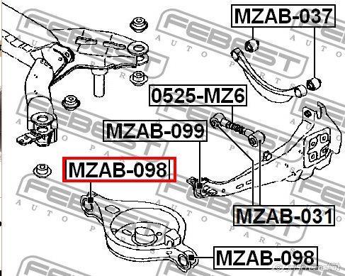 MZAB-098 Febest сайлентблок заднего нижнего рычага