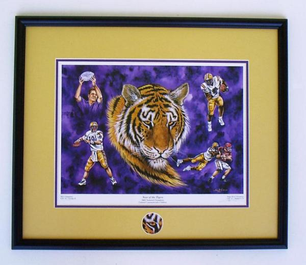 Alabama and Auburn Framed Prints LSU Tigers Football